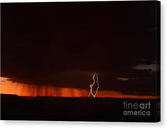 Lightning At The Grand Canyon Canvas Print