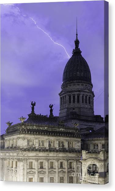 Lightning Strike Canvas Print by Balanced Art