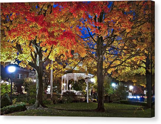 Canvas Print featuring the photograph Ligonier Diamond At Night by Williams-Cairns Photography LLC
