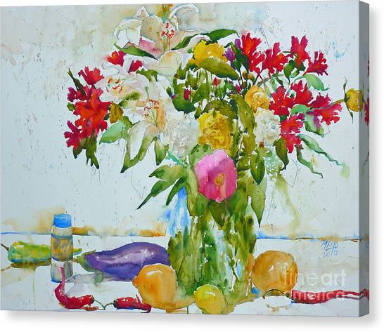 Lilies And Red Peppers Canvas Print by Andre MEHU