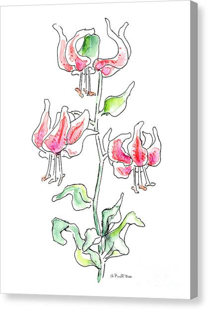 Abstract Lily Canvas Print - Lily Painting 3 by Gordon Punt