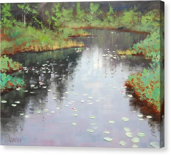 Lily Pond Canvas Print - Lily Pond Reflections by Graham Gercken