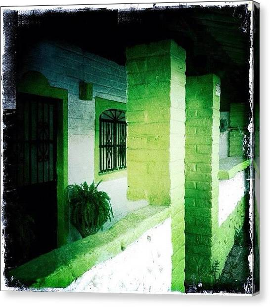 Colorful Canvas Print - Lime Green & White House (puerto by Natasha Marco