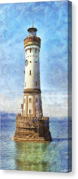 Planet Canvas Print - Lindau Lighthouse In Germany by Nikki Marie Smith