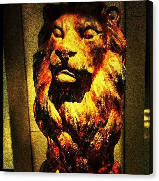 Lions Canvas Print - Lion Statue @ Cabinet Of Curiosities by Michelle Huey