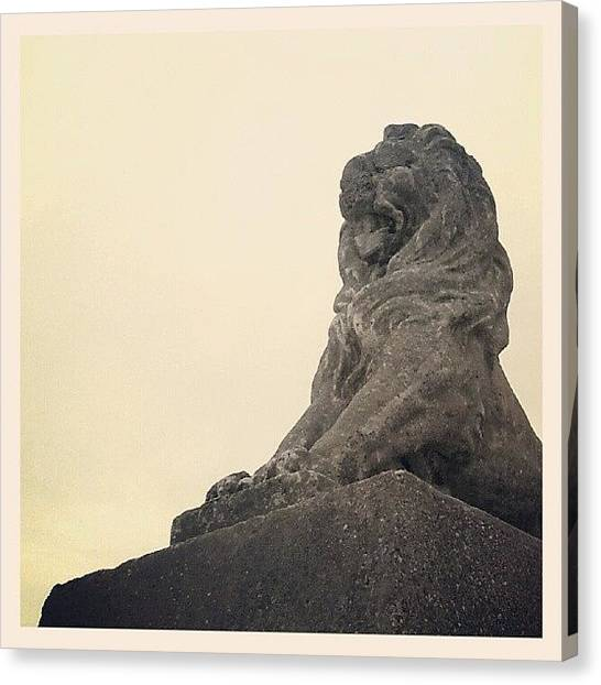 Lions Canvas Print - Lion Statue #caister #yarmouth #norfolk by Invisible Man