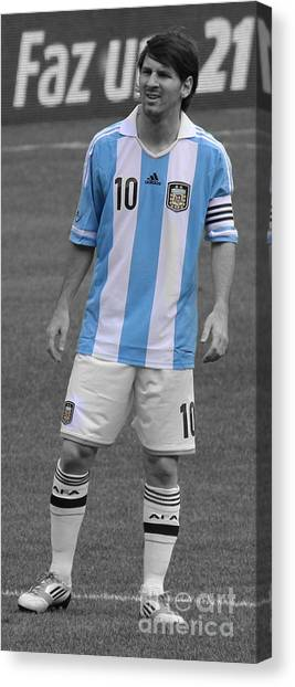 Uefa Champions Canvas Print - Lionel Messi by Lee Dos Santos