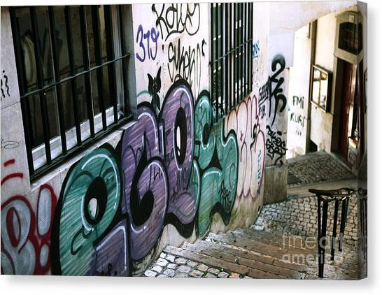 Graffiti Walls Canvas Print - Lisbon Graffiti IIi by John Rizzuto
