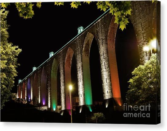 Lisbon Historic Aqueduct By Night Canvas Print