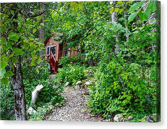 Little Cabin In The Woods Canvas Print by Infinitimage Canada