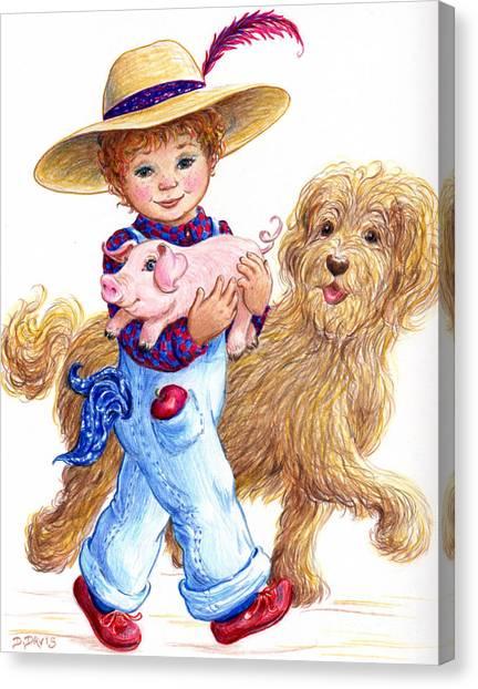 Little Farm Boy Canvas Print