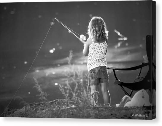 Little Fishing Girl Canvas Print