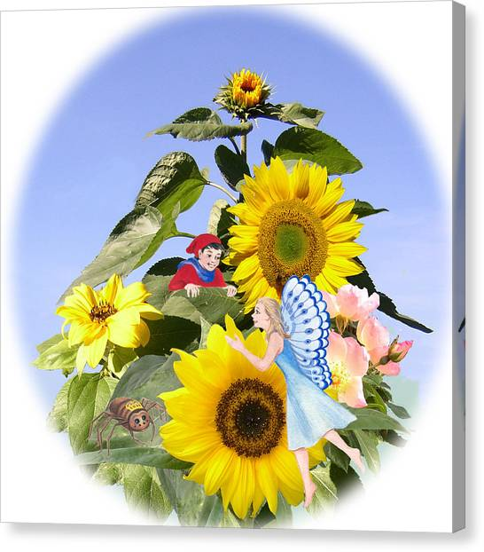 Little Folk Among The Sunflowers Canvas Print by Maureen Carter