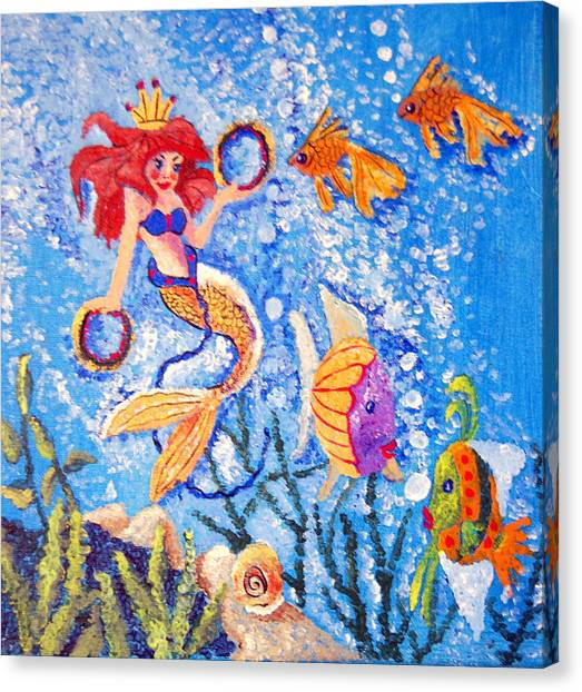 Little Mermaid In The Sea Canvas Print by Janna Columbus