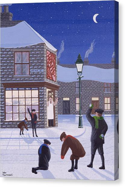 Snowball Canvas Print - Little Rascals by Peter Szumowski
