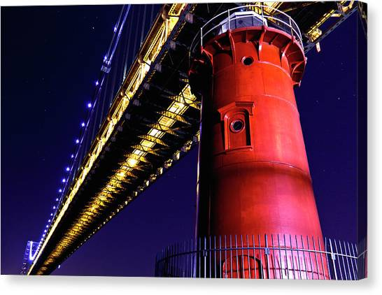 George Washington Bridge Canvas Print - Little Red Lighthouse by Stephen O'Byrne