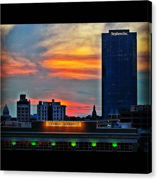 Libraries Canvas Print - Little Rock Skyline At Sunset by Roger Snook