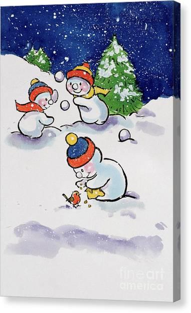 Snowball Canvas Print - Little Snowmen Snowballing by Diane Matthes