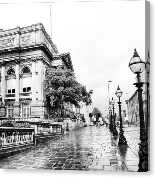 Follow Canvas Print - #liverpool #uk #england #rainy #rain by Abdelrahman Alawwad