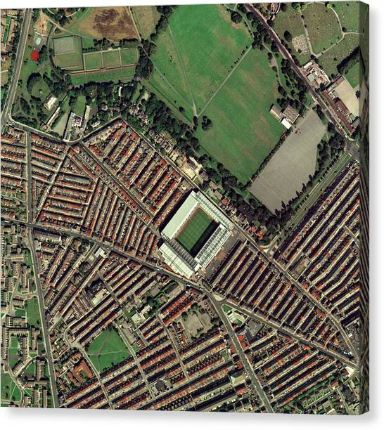 Liverpool Fc Canvas Print - Liverpool's Anfield Stadium, Aerial View by Getmapping Plc