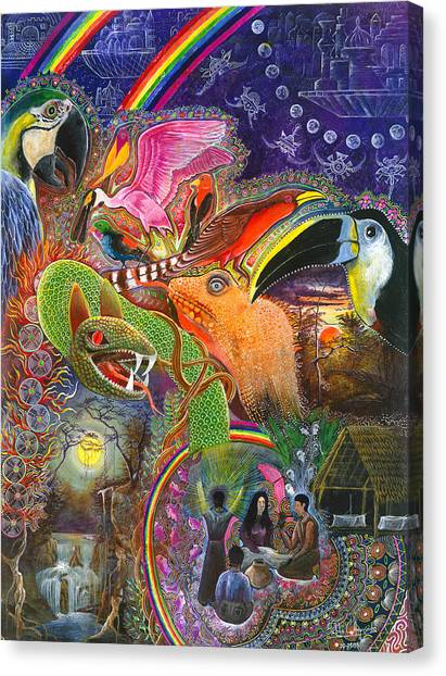 Canvas Print featuring the painting Llullu Machaco  by Pablo Amaringo