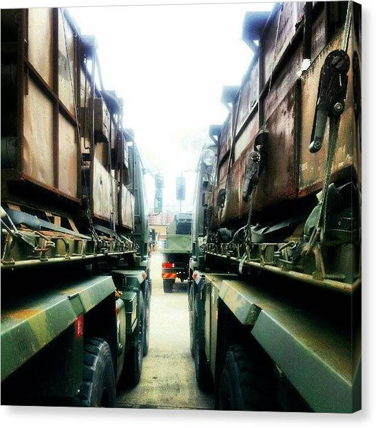 Army Canvas Print - Loaded Up At #churchillbarracks by Henry Wisdom
