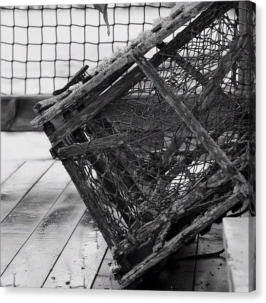 Lobster Canvas Print - Lobster Cage #instamood #bwsquare by Kim Szyszkiewicz