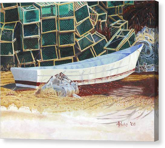 Canvas Print featuring the painting Lobster Traps And Dory by Dominic White