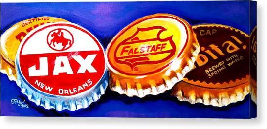 Local Beer Caps Canvas Print by Terry J Marks Sr