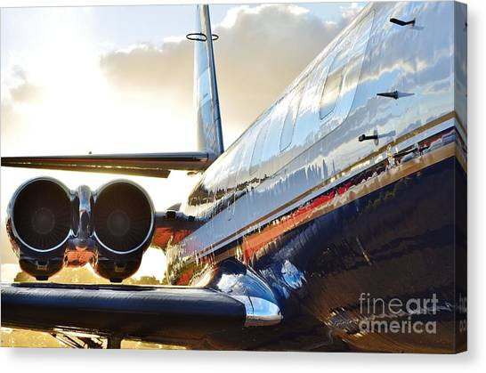 Occupy Beijing Canvas Print - Lockheed Jet Star Side View by Lynda Dawson-Youngclaus