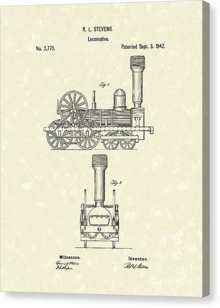 Train Canvas Print - Locomotive 1842 Patent Art by Prior Art Design