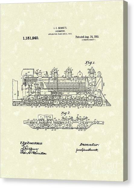 Train Canvas Print - Locomotive 1915 Patent Art by Prior Art Design