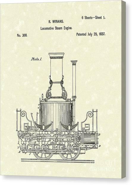Train Canvas Print - Locomotive Steam Engine 1837 Patent by Prior Art Design