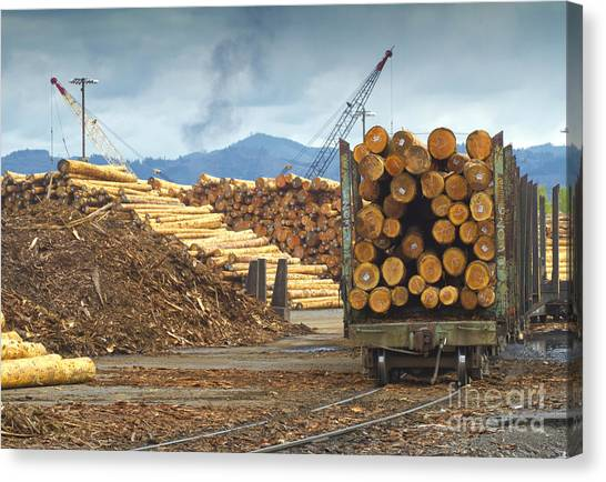 Portland Timbers Canvas Print - Logging Mill And Shipment by David Buffington