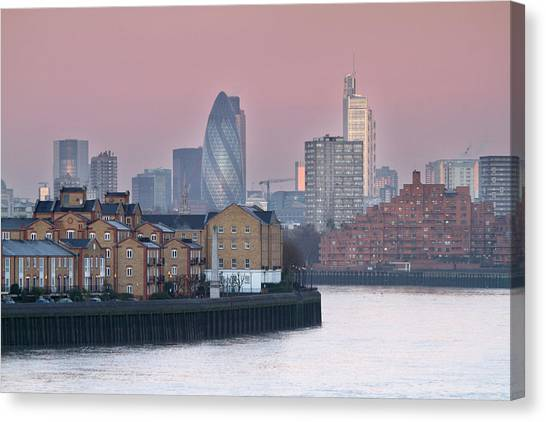 London City View Down Thames Canvas Print by SarahB Photography