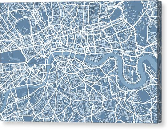 England Canvas Print - London Map Art Steel Blue by Michael Tompsett