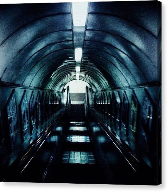 London Tube Canvas Print - #london #underground #tunnel #grunge by Domenico Lamonaca