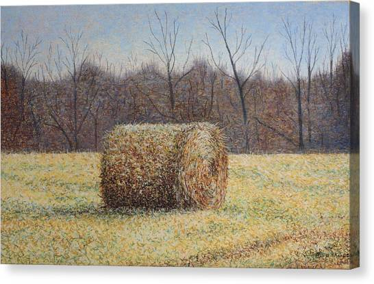 Lone Haybale Canvas Print by Patsy Sharpe