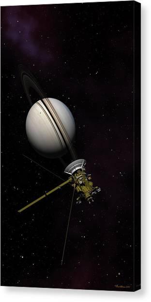 Lone Sentinel At Saturn  Canvas Print
