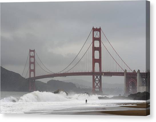 Lone Surfer Canvas Print by Howard Knauer