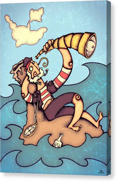 Crazy Canvas Print - Lonely Pirate by Autogiro Illustration