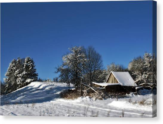 Lonely Rural Log Hut Brought By Snow Canvas Print by Aleksandr Volkov