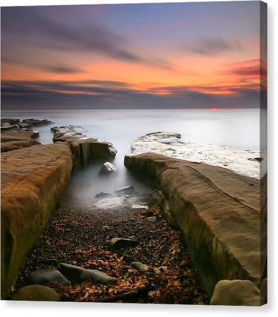 Canvas Print - Long Exposure Sunset At A San Diego by Larry Marshall