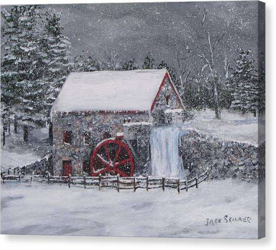 Canvas Print - Longfellow's Grist Mill In Winter by Jack Skinner
