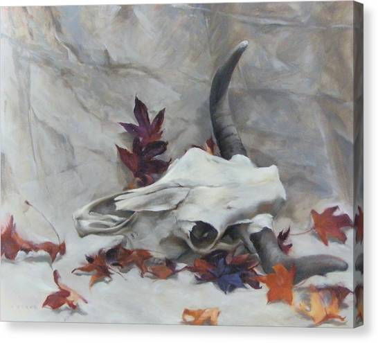 Longhorn With Leaves Canvas Print