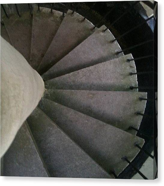 Spiral Canvas Print - #lookdown #teamlookdown #stairs by Kevin Zoller