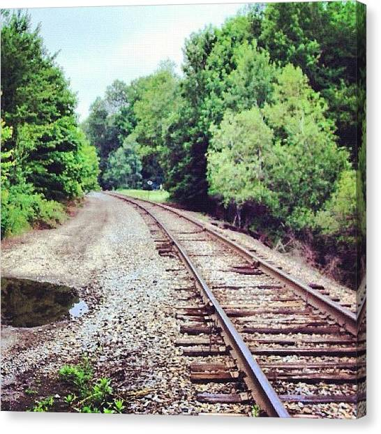 Locomotive Canvas Print - Looking Down The Tracks by Courtney Meunier