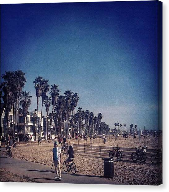 Ocean Life Canvas Print - Looking Down Venice Beach. #iphone by Loghan Call