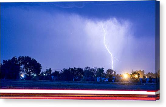 Weather Canvas Print - Looking East Lightning Strike by James BO  Insogna
