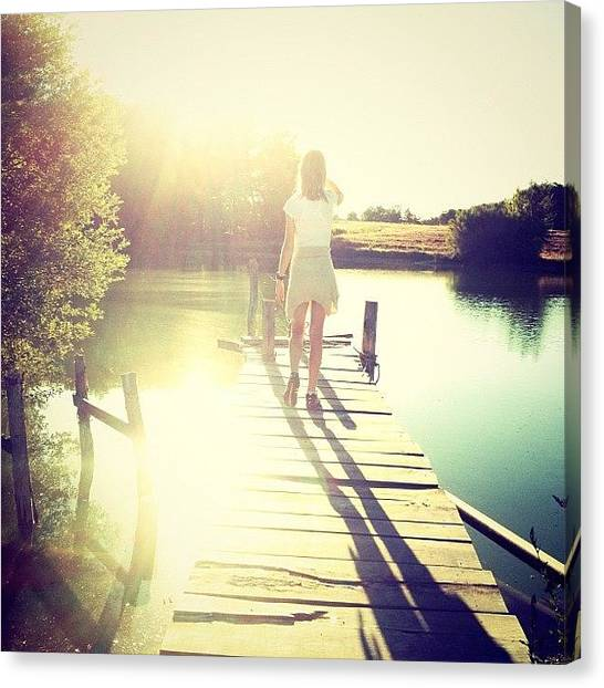 Pontoon Canvas Print - Looking The Sunshine Tonight | The by Val Lao